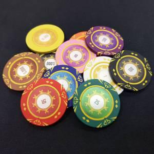 """Bird Cage de 1000 jetons de poker """"SUNSHINE"""" - version TOURNOI - en clay composite 14 g - avec accessoires"""