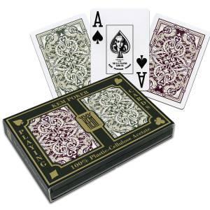 """Duo pack Kem  """"JACQUARD JUMBO"""" - 2 jeux de 54 cartes -100% plastique – format poker – 2 index jumbo - étui plastique"""