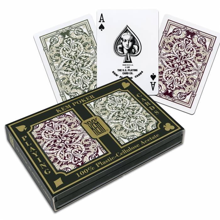 """Duo pack Kem """"JACQUARD"""" - 2 jeux de 54 cartes 100% plastique – format poker – 2 index standards"""