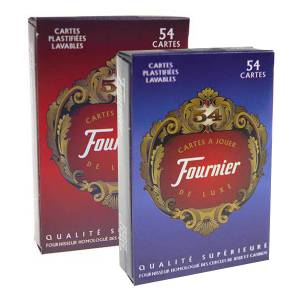 Duo Pack Fournier 54 cartes de luxe- Jeu de 54 cartes cartonnées plastifiées – format bridge – index standards
