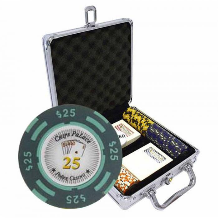 """Mallette de 100 jetons de poker """"CHIPS PALACE"""" - version TOURNOI - en clay composite 14 g - avec accessoires"""