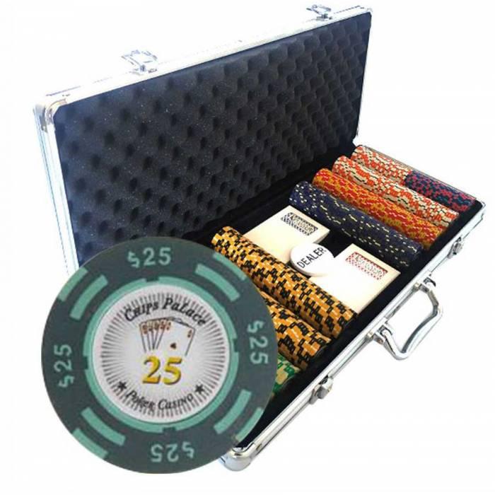 """Mallette de 400 jetons de Poker """"CHIPS PALACE"""" - version TOURNOI - en clay composite 14 g - avec accessoires"""
