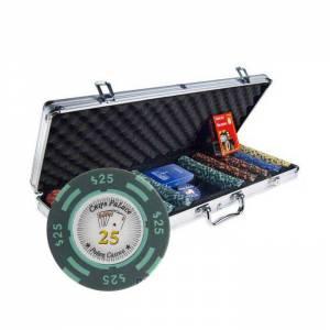 """Mallette de 500 jetons de Poker """"CHIPS PALACE"""" - version TOURNOI - en clay composite 14 g - avec accessoires"""