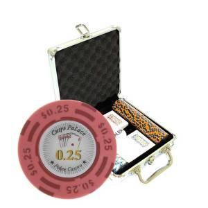 """Mallette de 100 jetons de poker """"CHIPS PALACE"""" - version CASH GAME - en clay composite 14 g - avec accessoires"""