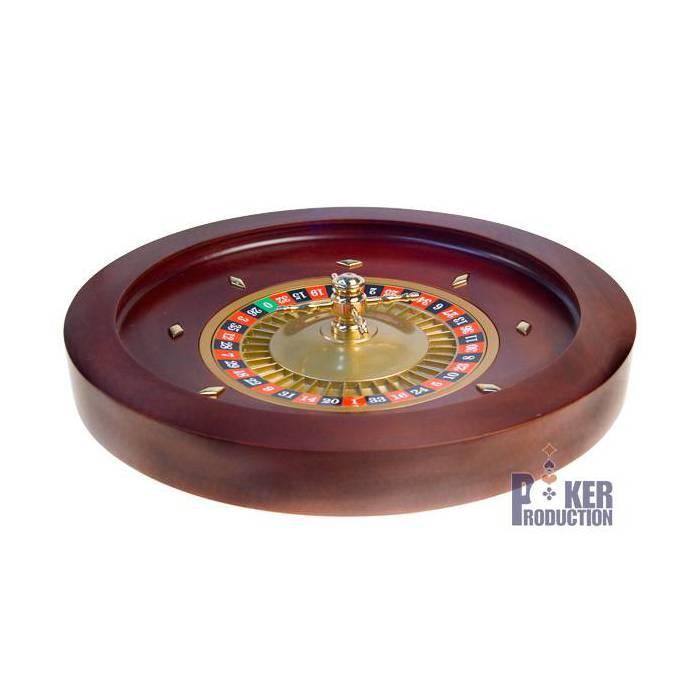 Roulette française de casino en acajou Simple 0 - 45 cm de diamètre – centre en métal plaqué nickel – avec 2 billes