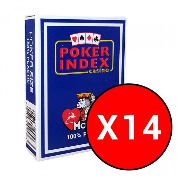 """Cartouche de 14 jeux Modiano """"POKER INDEX CASINO"""" Bleus foncés"""