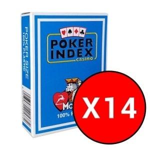 """Cartouche de 14 jeux Modiano """"POKER INDEX CASINO"""" - Bleu"""