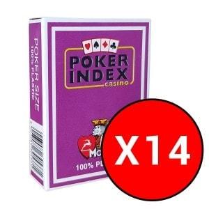 """Cartouche de 14 jeux Modiano """"POKER INDEX CASINO"""" - Violet"""