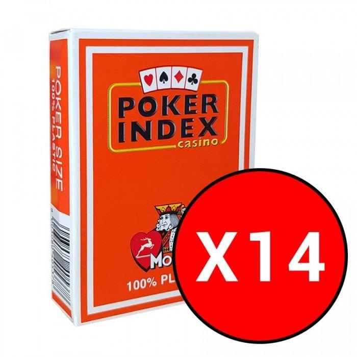"""Cartouche de 14 jeux Modiano """"POKER INDEX CASINO"""" - Oranges"""