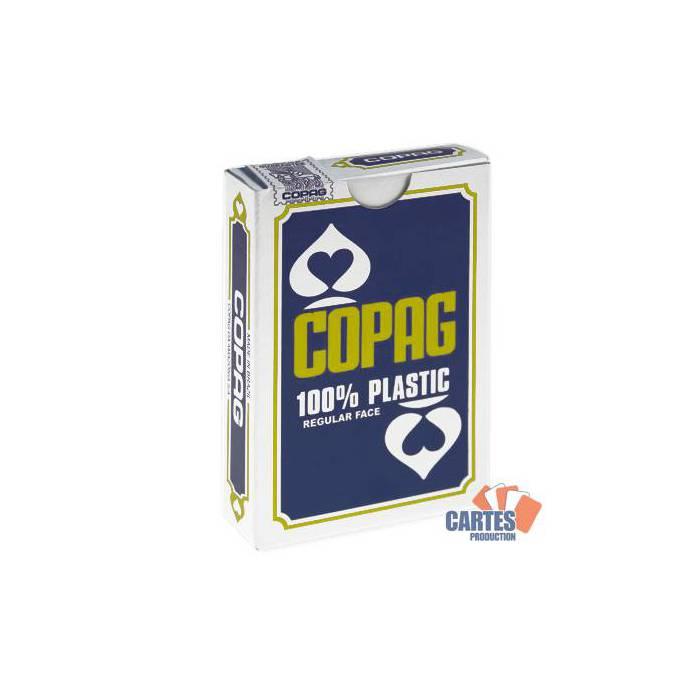 COPAG Bridge BLEU-  jeu de 54 cartes 100% Plastique – format bridge – 2 index standards