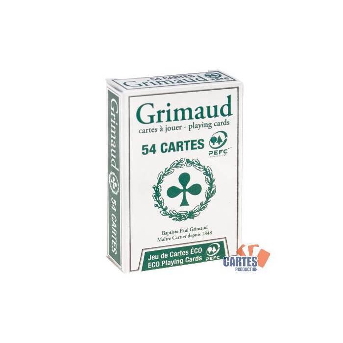 ÉCO – Grimaud - jeu de 54 cartes cartonnées plastifiées – format bridge – 4 index standards – portraits français