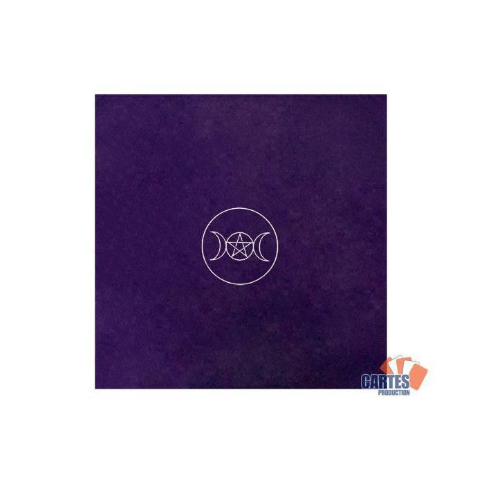 Tapis de tarot en velours CERCLE PAÏEN – 80x80 cm – symbole brodé