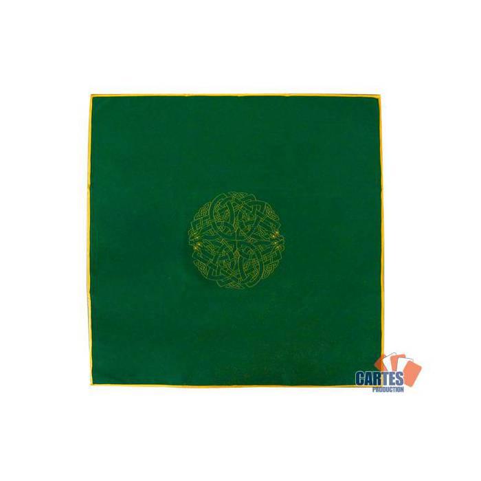 Tapis de tarot en velours LABYRINTHE CELTIQUE – 80x80 cm – symbole brodé