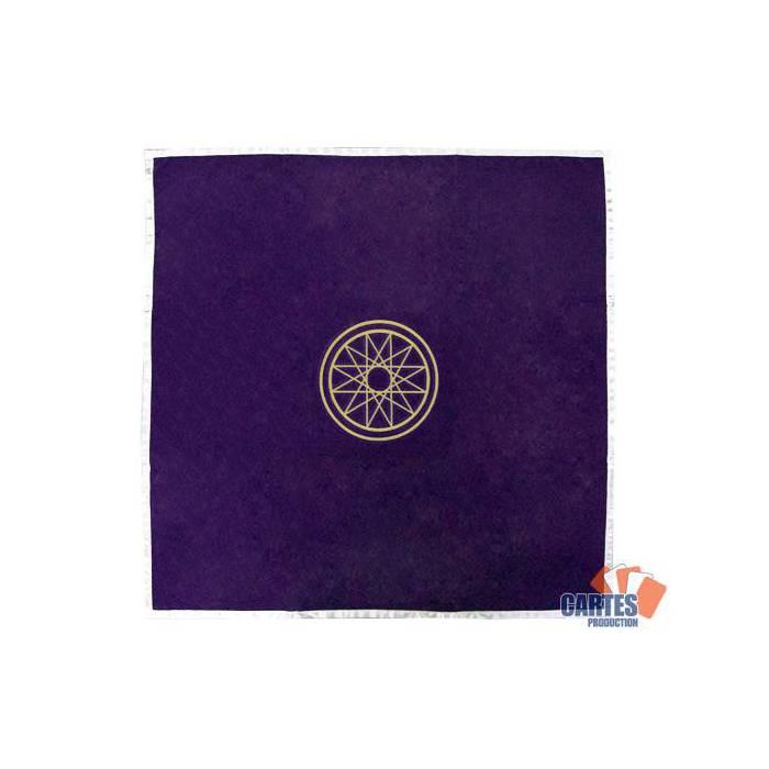 Tapis de tarot en velours MERCURE – 80x80 cm – symbole brodé