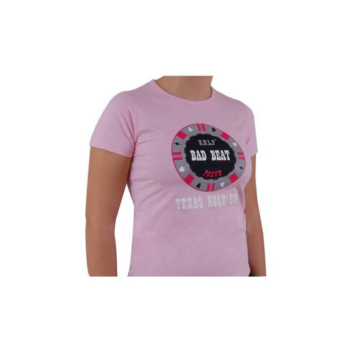 T-Shirt Rose Femme : BAD BEAT - Taille L