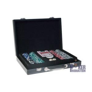 Mallette de 300 jetons de poker Grimaud – mallette façon cuir – jetons en ABS avec insert métal – avec 2 jeux de cartes