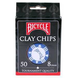 Recharge de 50 jetons de poker BICYCLE – en clay composite sans insert métal - 8g – 3 couleurs