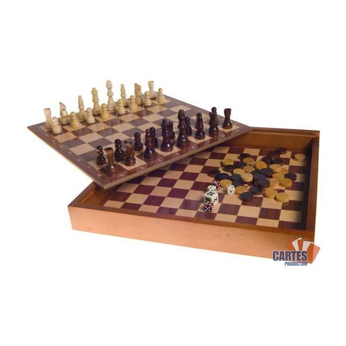 Coffret de jeux Echecs Backgammon Dames