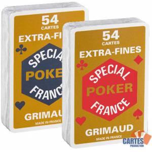 Cartouche Grimaud Spécial Poker Extrafines - Jeu de 54 cartes cartonnées plastifiées – format bridge