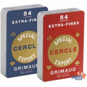 Cartouche Grimaud Spécial Cercle Extrafines - Jeu de 54 cartes cartonnées plastifiées – format bridge