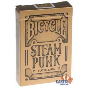 Bicycle Steampunk – jeu de 54 cartes toilées plastifiées – format poker – 2 index standards