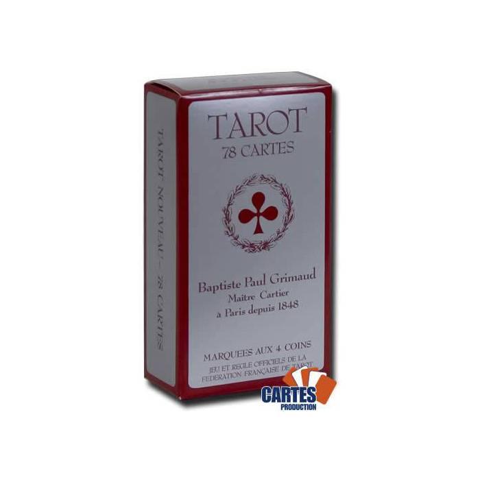 Tarot Grimaud – jeu de 78 cartes cartonnées plastifiées – coins dorées – 4 index standards