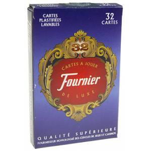 Fournier 32 cartes de luxe- Jeu de 32 cartes cartonnées plastifiées – format bridge – index standards
