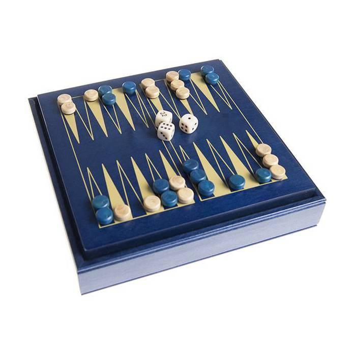 Backgammon magnétique en bois bleu - 15x15 cm