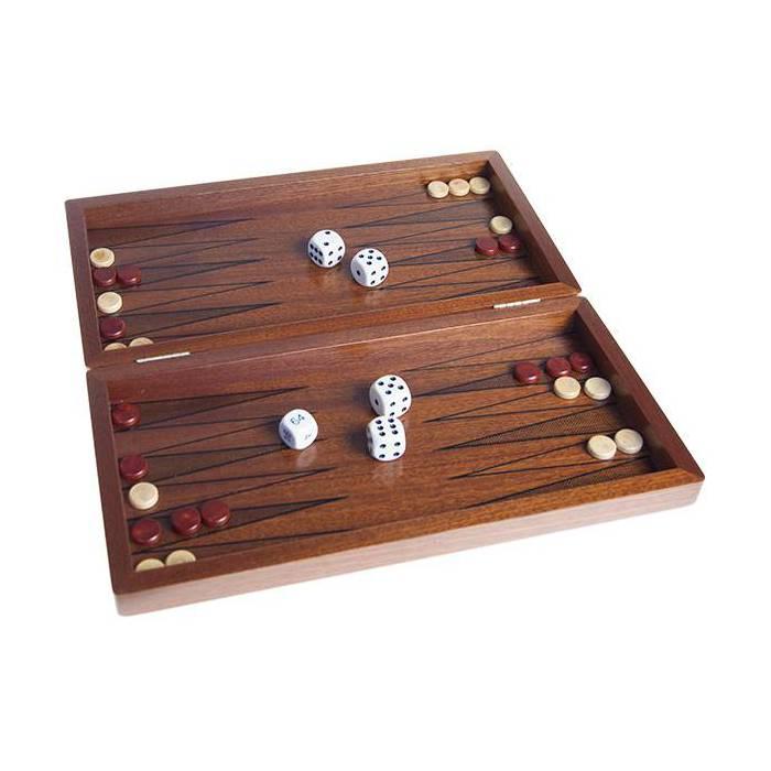 Backgammon en acajou - 30x30 cm – pions et dé en bois
