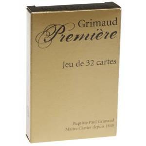 Grimaud Belote Première -Jeu de 32 cartes cartonnées plastifiées – 4 index standards - format bridge