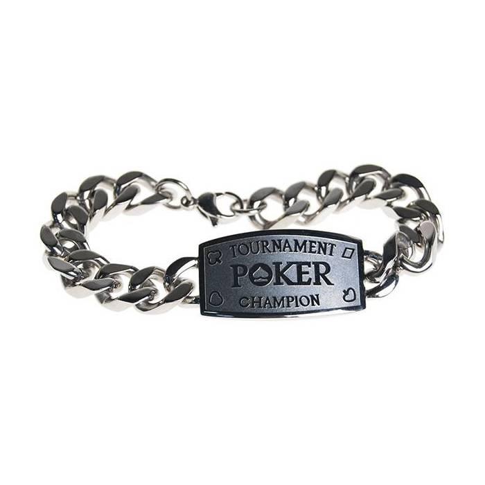 Bracelet argenté POKER TOURNAMENT CHAMPION – livré dans un écrin en simili cuir