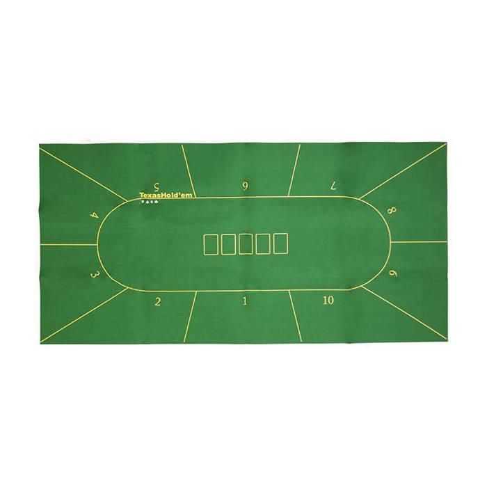 Tapis de poker Texas Hold'Em en feutrine – emplacement pour le flop - 180x90 cm