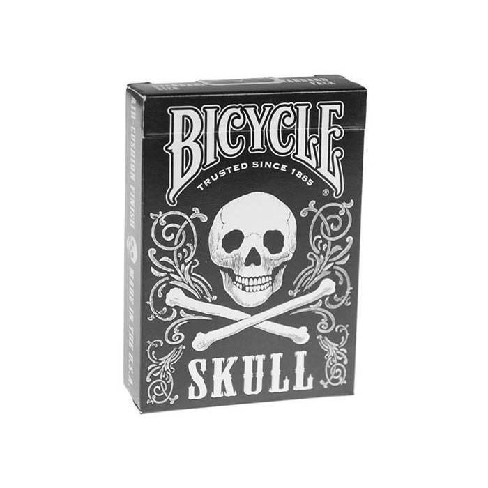 Bicycle Skull  – Jeu de 54 cartes toilées plastifiées – format poker – 2 index standards