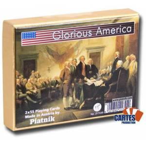 Coffret Glorious America  - 2 jeux de 54 cartes cartonnées plastifiées – 2 index standards – format bridge