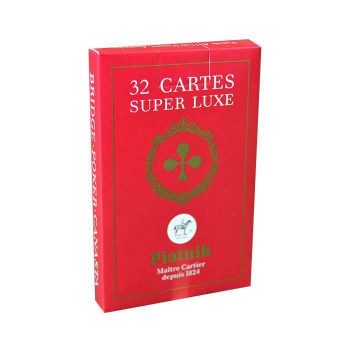 Piatnik Belote Super Luxe - Jeu de 32 cartes cartonnées plastifiées – format bridge – 4 index standards