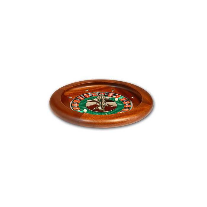 Roulette française de casino en acajou Simple 0 - 36 cm de diamètre – centre en aluminium – livrée avec une bille