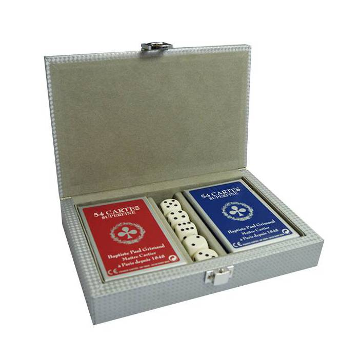 Coffret Bridge Silver – 2 jeux de 54 cartes cartonnées plastifiées – format bridge – 4 index standards
