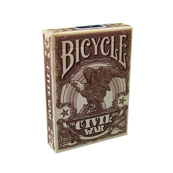 Bicycle The Civil War – jeu de 54 cartes toilées plastifiées – format poker – 2 index standards