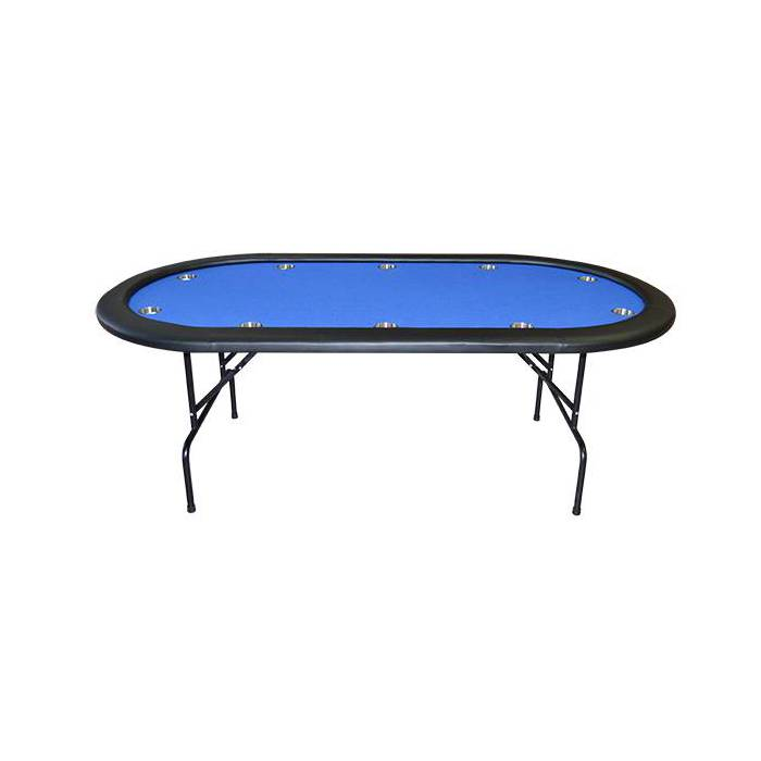 Table de poker ovale NEVADA pliante – tapis en feutrine et 10 cup holder – 10 joueurs