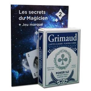 Grimaud Magie 2 Jeu Marqué - Jeu de 54 cartes toilées plastifiées – format poker – 4 index standards