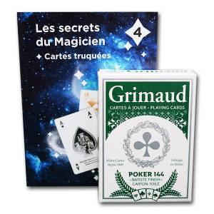 Grimaud Magie 4 Jeu Truqué - Jeu de 54 cartes toilées plastifiées – format poker – 4 index standards