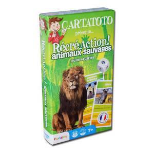 Cartatoto Récré Action ! Animaux Sauvages – jeu de 44 cartes cartonnées plastifiées