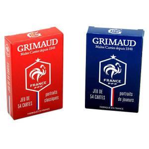 Duo pack FFF – Cartes officielles de l'Equipe de France de Football – Grimaud - jeu de 54 cartes cartonnées plastifiées