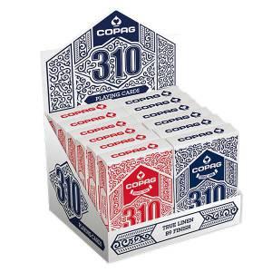 Cartouche COPAG 310 – 12 jeux de 54 cartes toilées plastifiées – format poker – 2 index standards