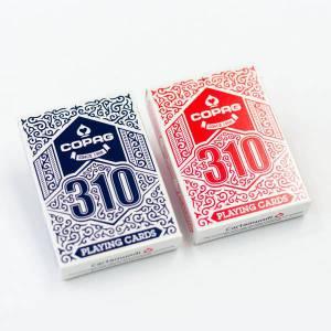 Duo pack COPAG 310 – 2 jeux de 54 cartes toilées plastifiées – format poker – 2 index standards