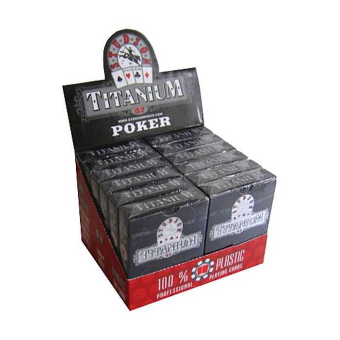 Cartouche Titanium Studson – 12 jeux de 54 cartes 100% plastique – format poker –  index spéciaux