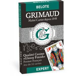Grimaud Expert Belote - jeu de 32 cartes cartonnées plastifiées - format bridge – 4 index standards