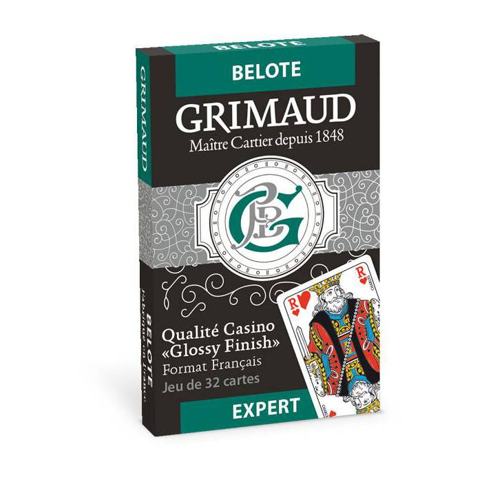 Grimaud Expert Belote - jeu de 32 cartes cartonnées plastifiées - format bridge – 4 index standards