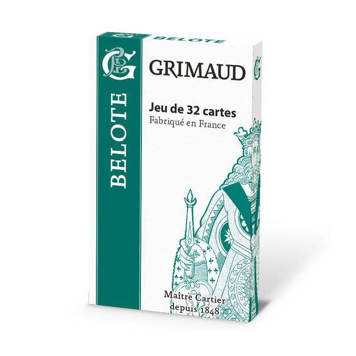 Grimaud Origine Belote - jeu de 32 cartes cartonnées plastifiées -  format bridge – 4 index standards