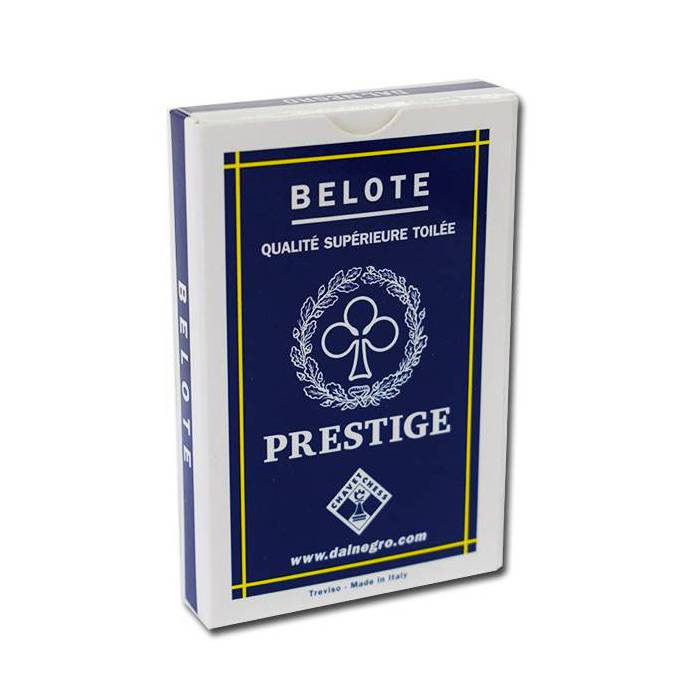 Dal Negro BELOTE PRESTIGE - Jeu de 32 cartes 100% plastique – 4 index standards – portraits français